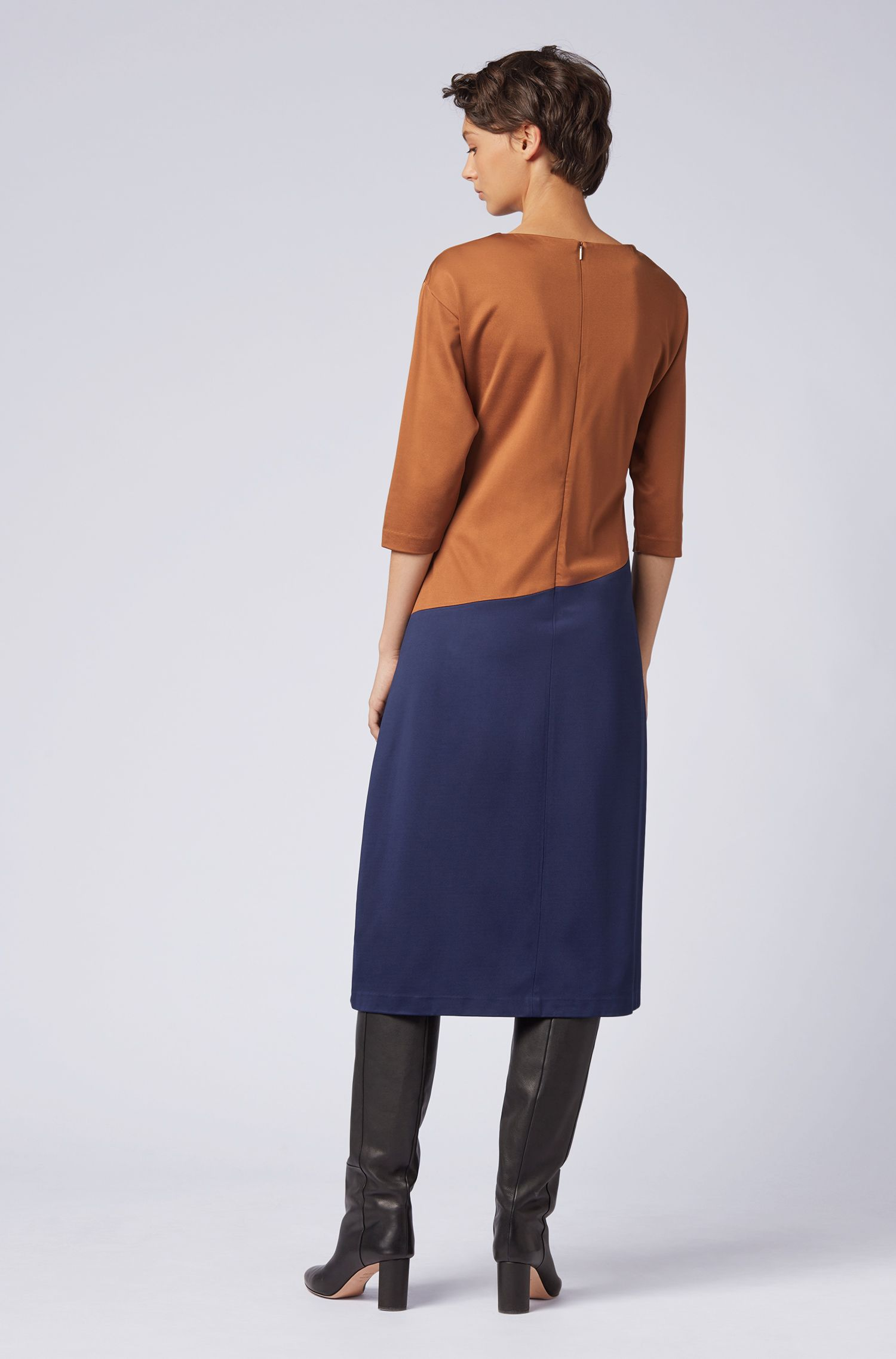 Regular-fit colorblock dress in Italian stretch twill, Dark Blue