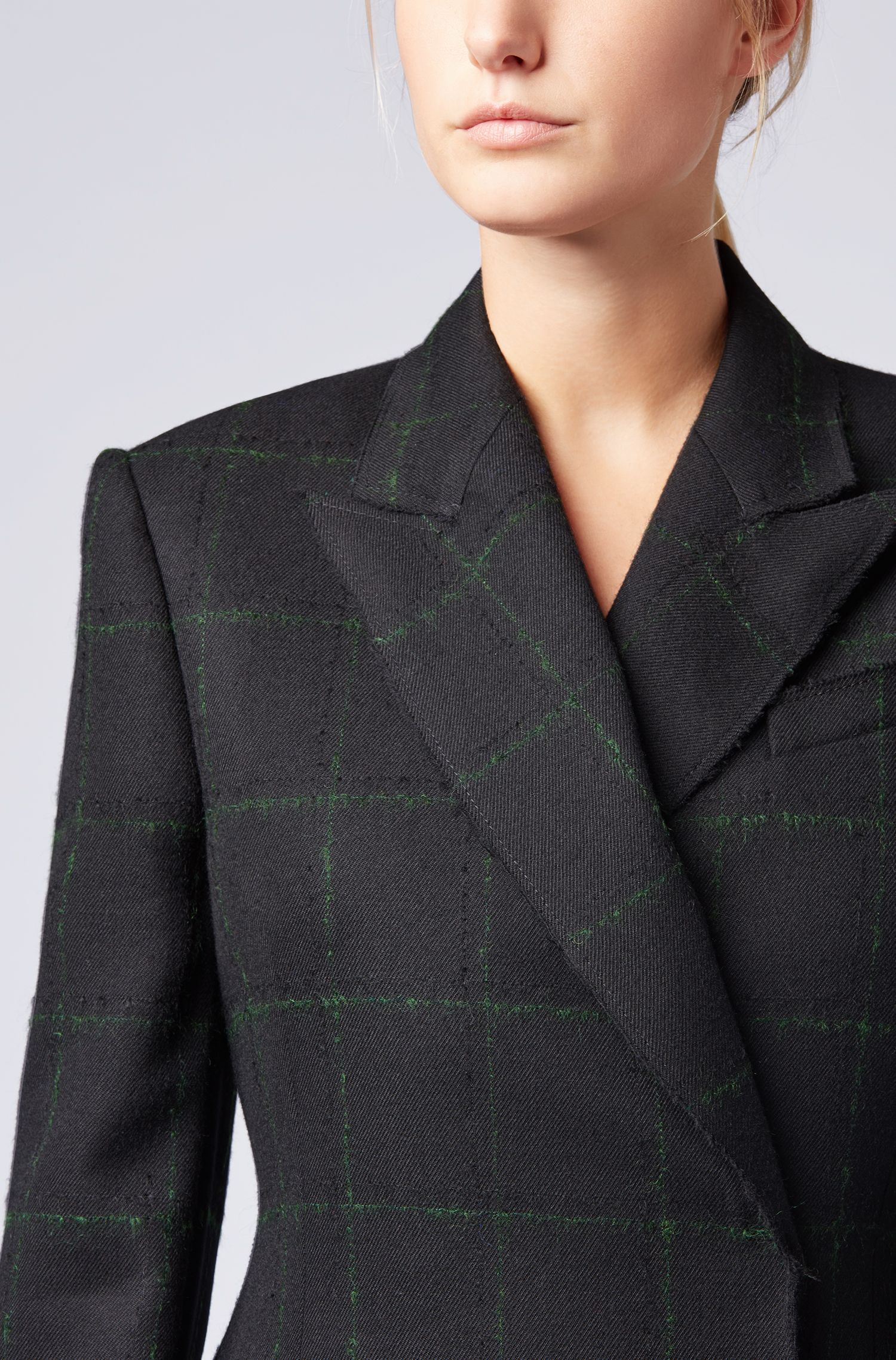 Gallery Collection double-breasted coat in a checkered wool blend, Patterned