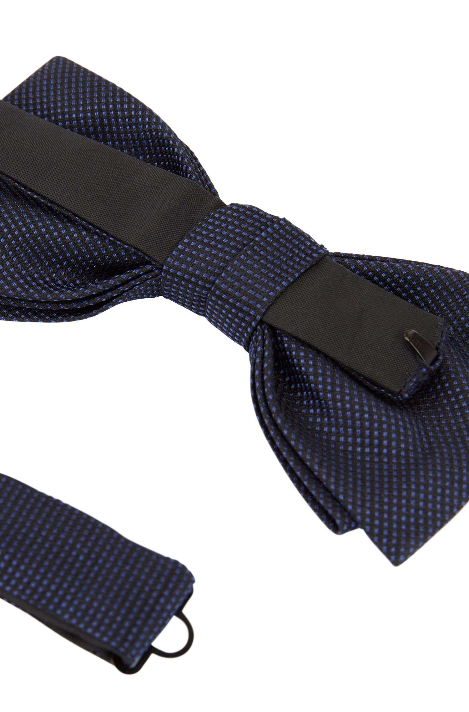 Italian-made bow tie in micro-patterned silk jacquard, Open Blue