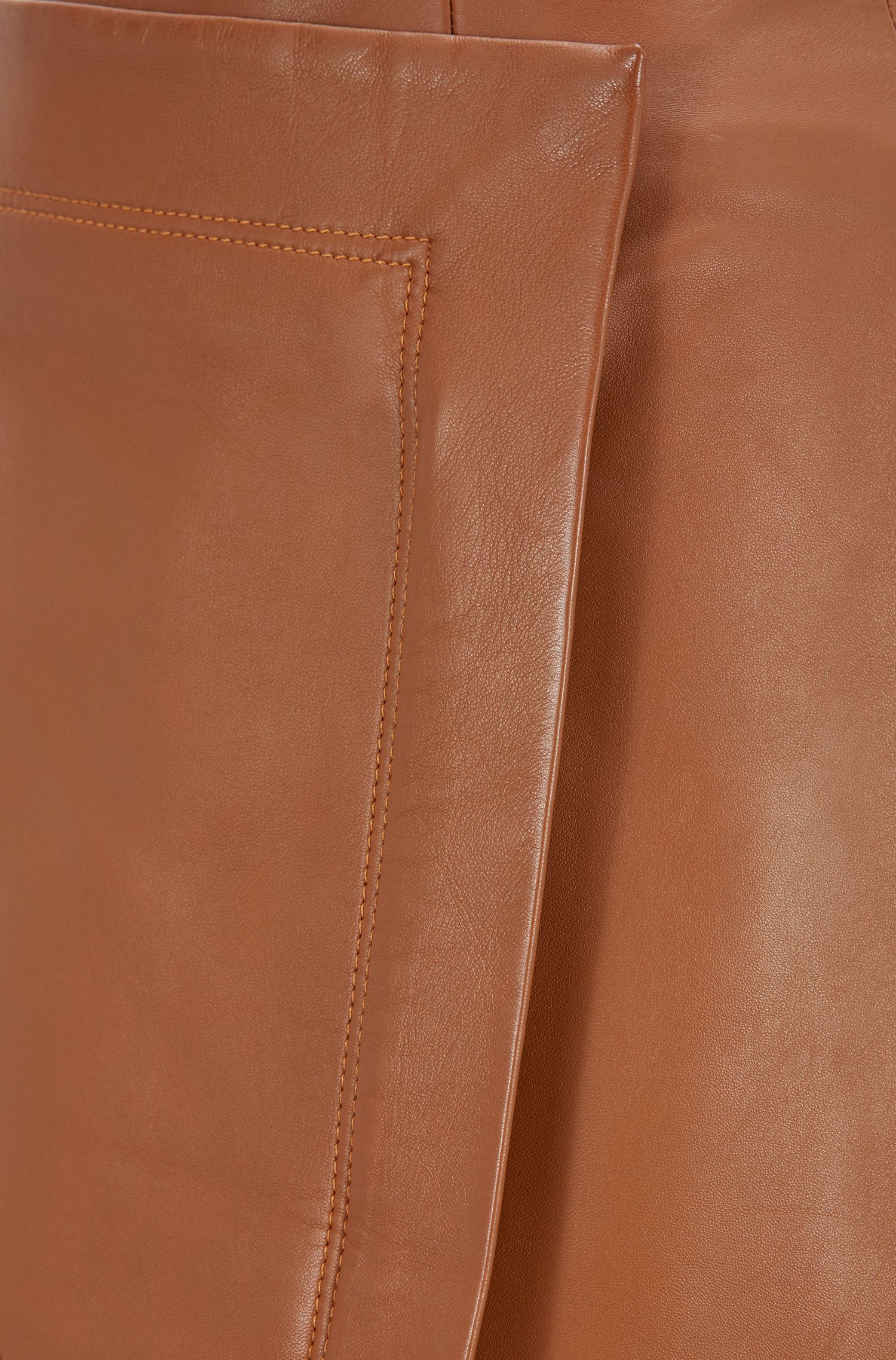 A-line wrap skirt in lambskin with pocket detail, Light Brown