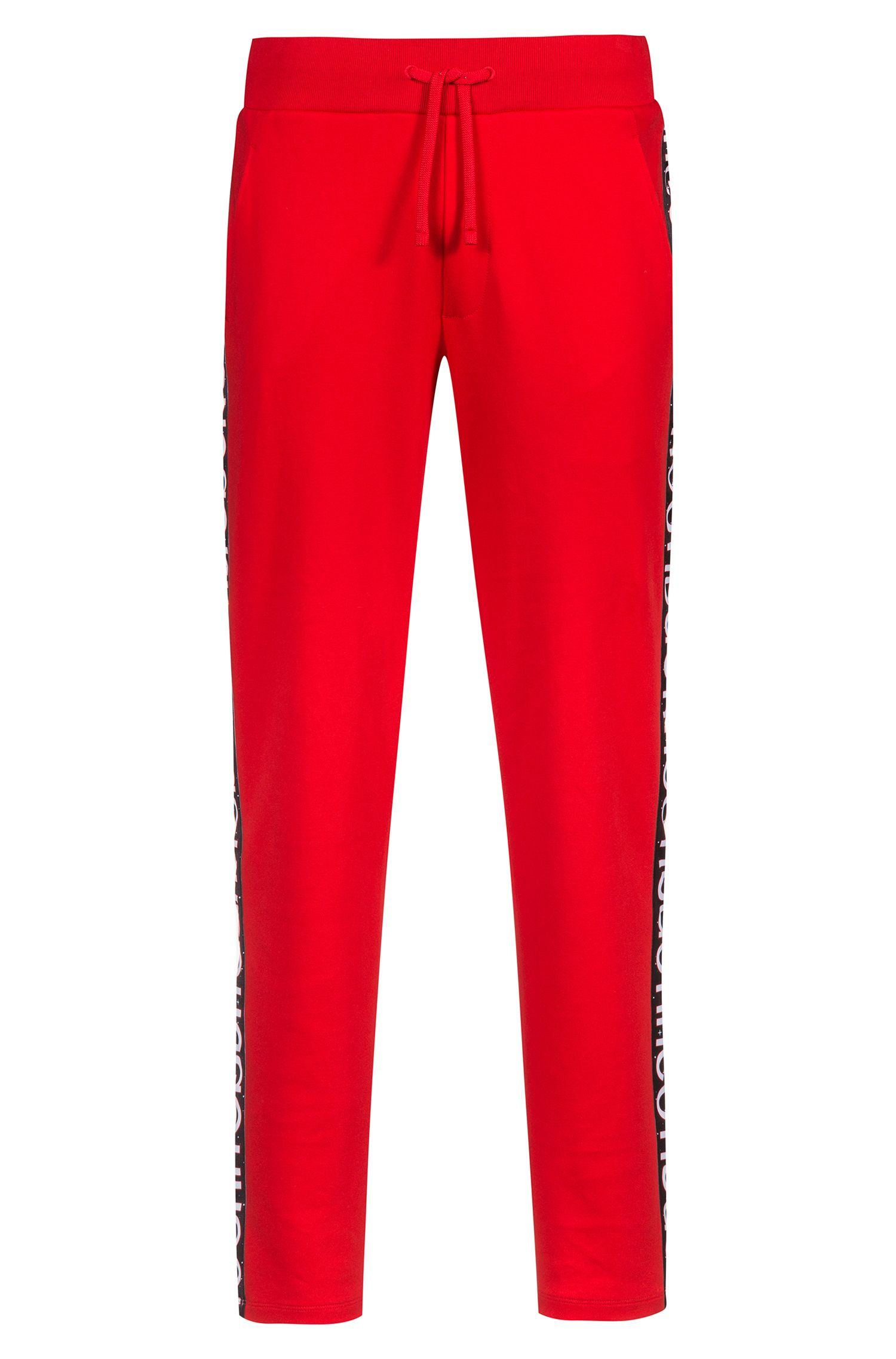 Relaxed-fit jersey trousers in cotton with logo tape, Open Pink