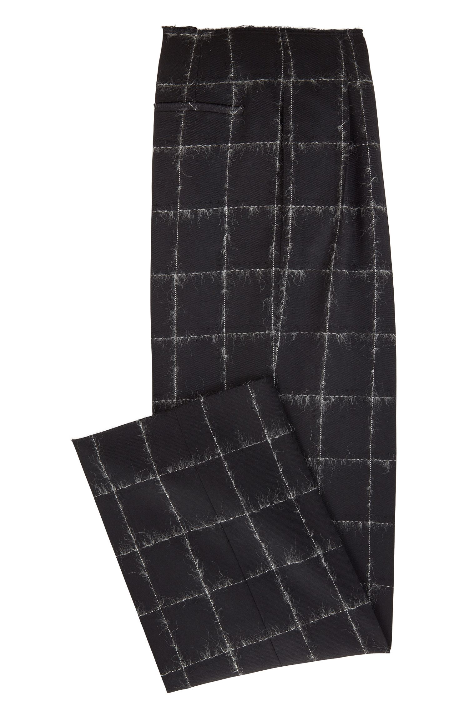 Gallery Collection wide-leg pants in a checkered wool blend, Patterned