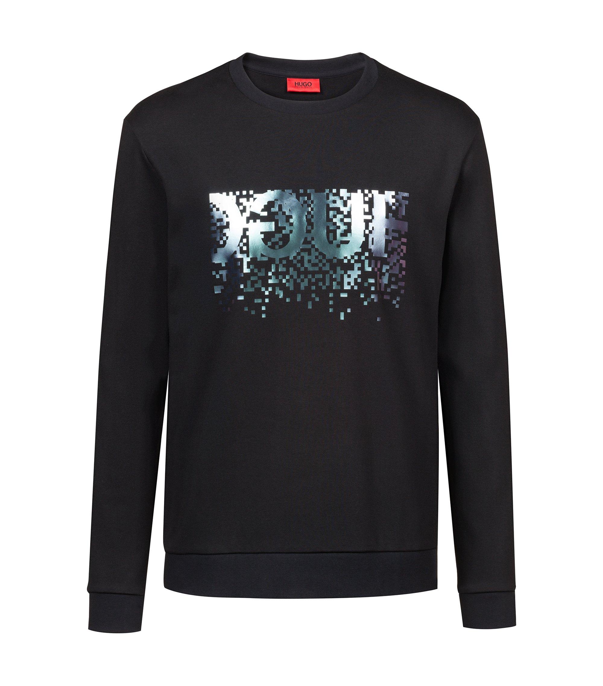 Crew-neck sweatshirt in cotton with foil-print reverse logo, Black