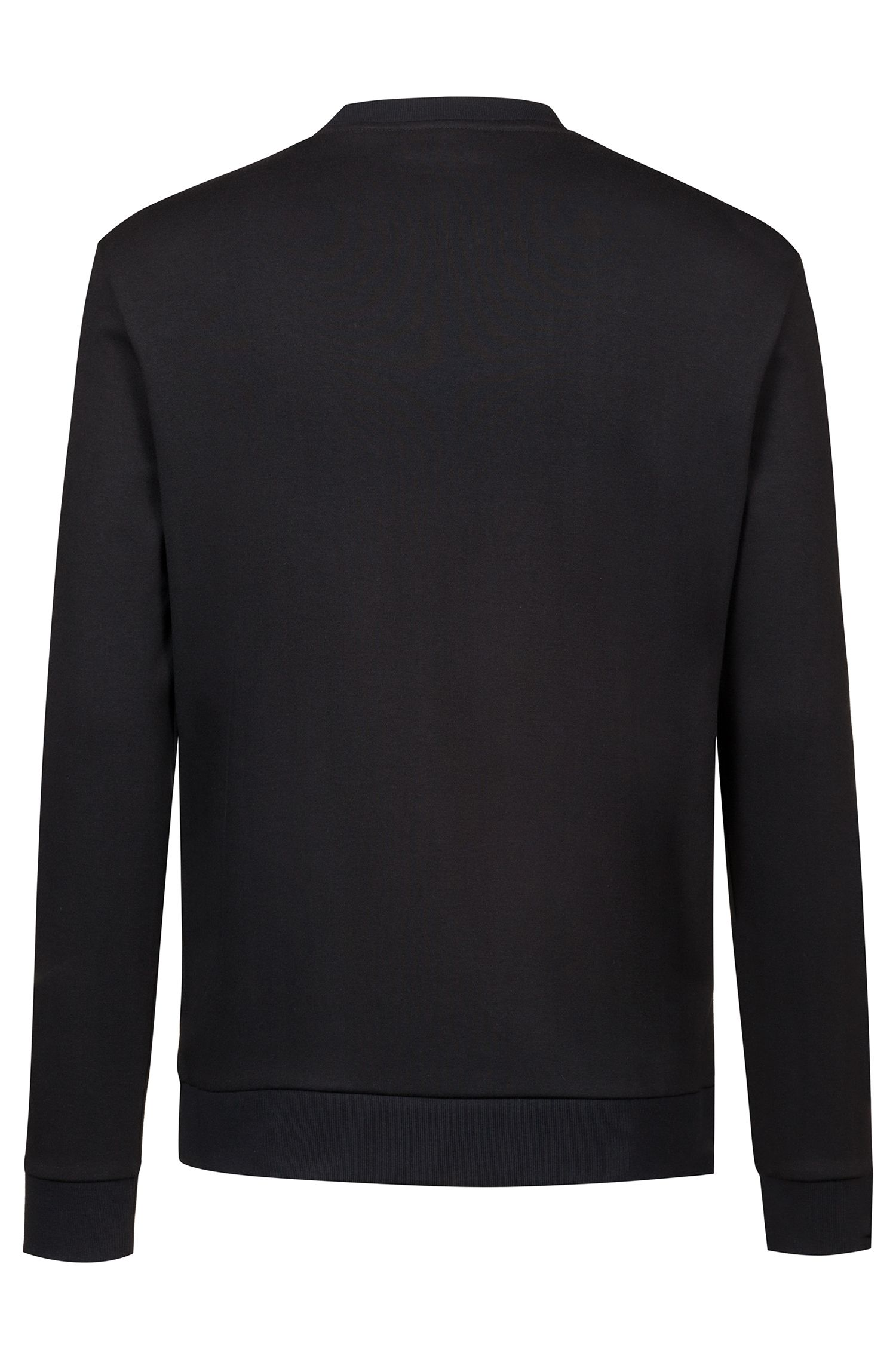 Crew-neck sweatshirt in cotton with foil-print reverse logo, Black