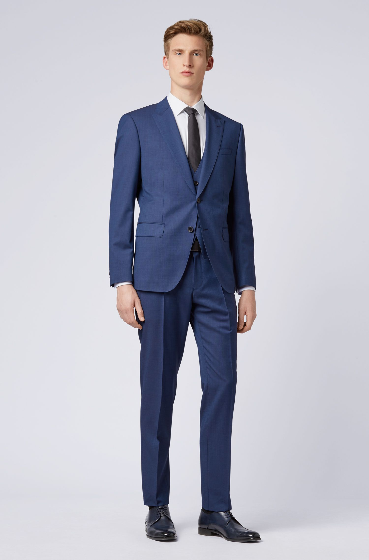 Slim-fit three-piece suit in melange virgin wool, Open Blue