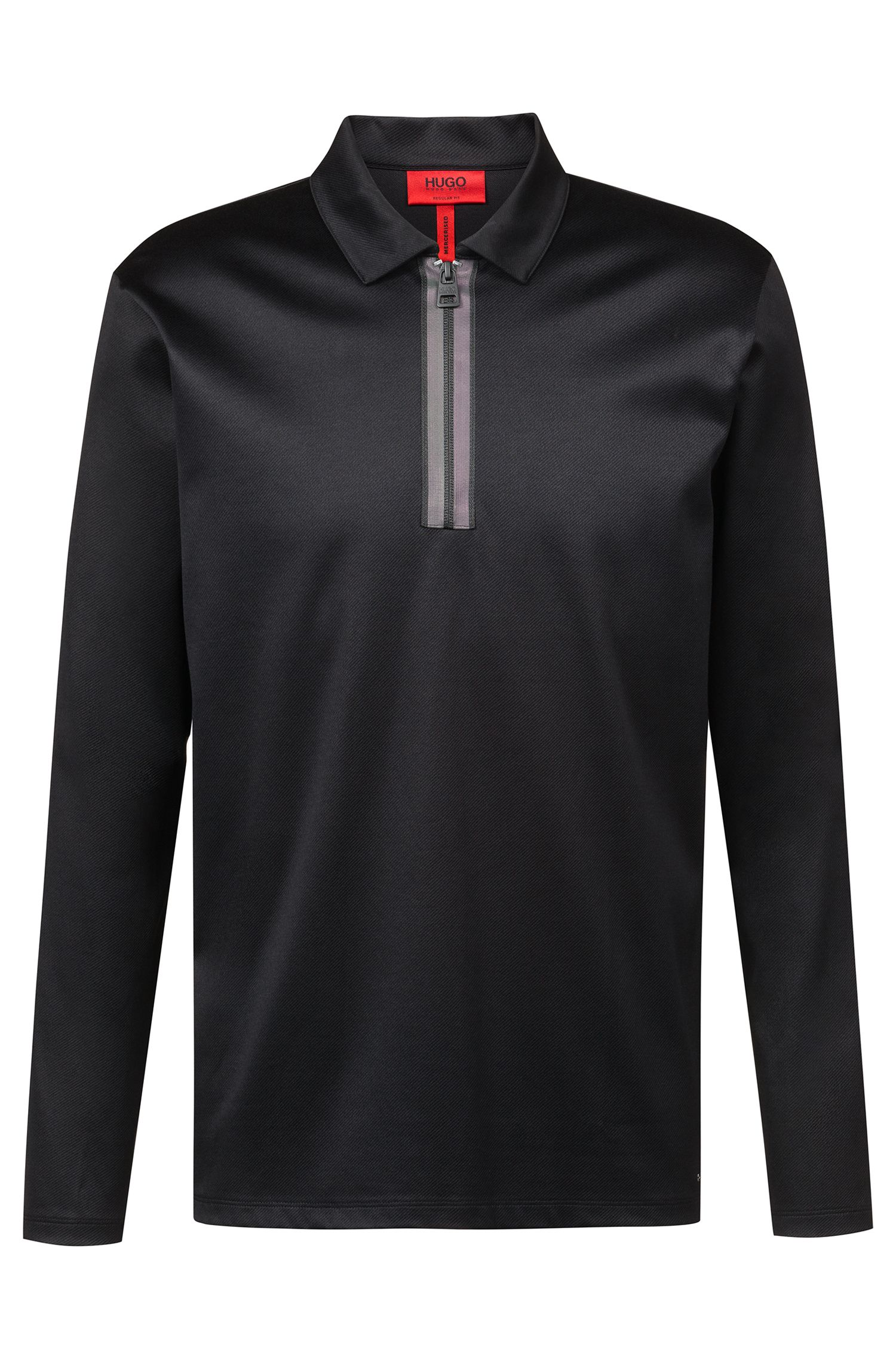 Long-sleeved polo shirt in mercerized interlock cotton, Black