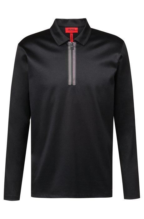 Long-sleeved polo shirt in mercerized interlock cotton, Black