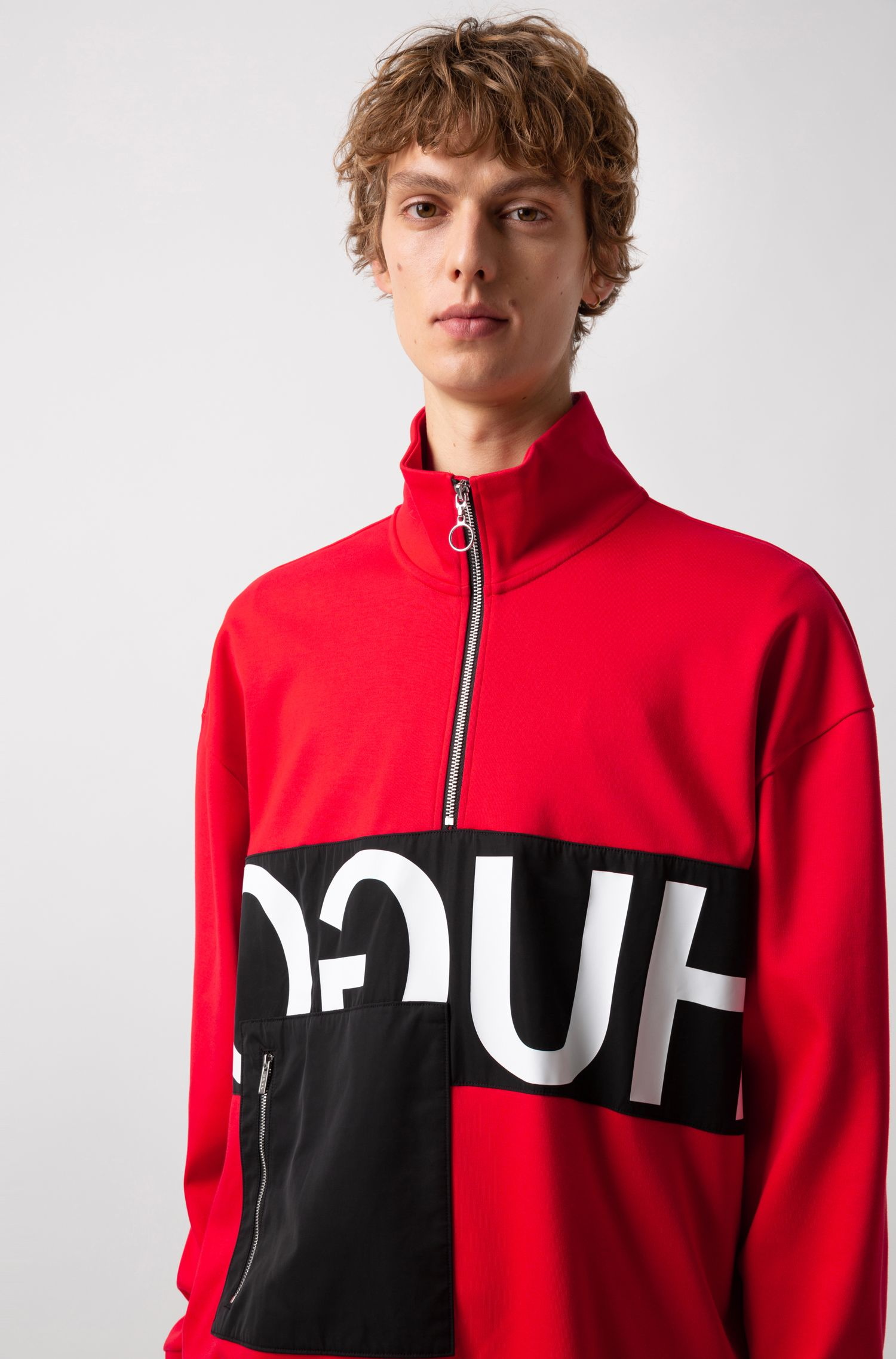 Oversized-fit sweatshirt with reverse logo and patch pocket, Open Pink