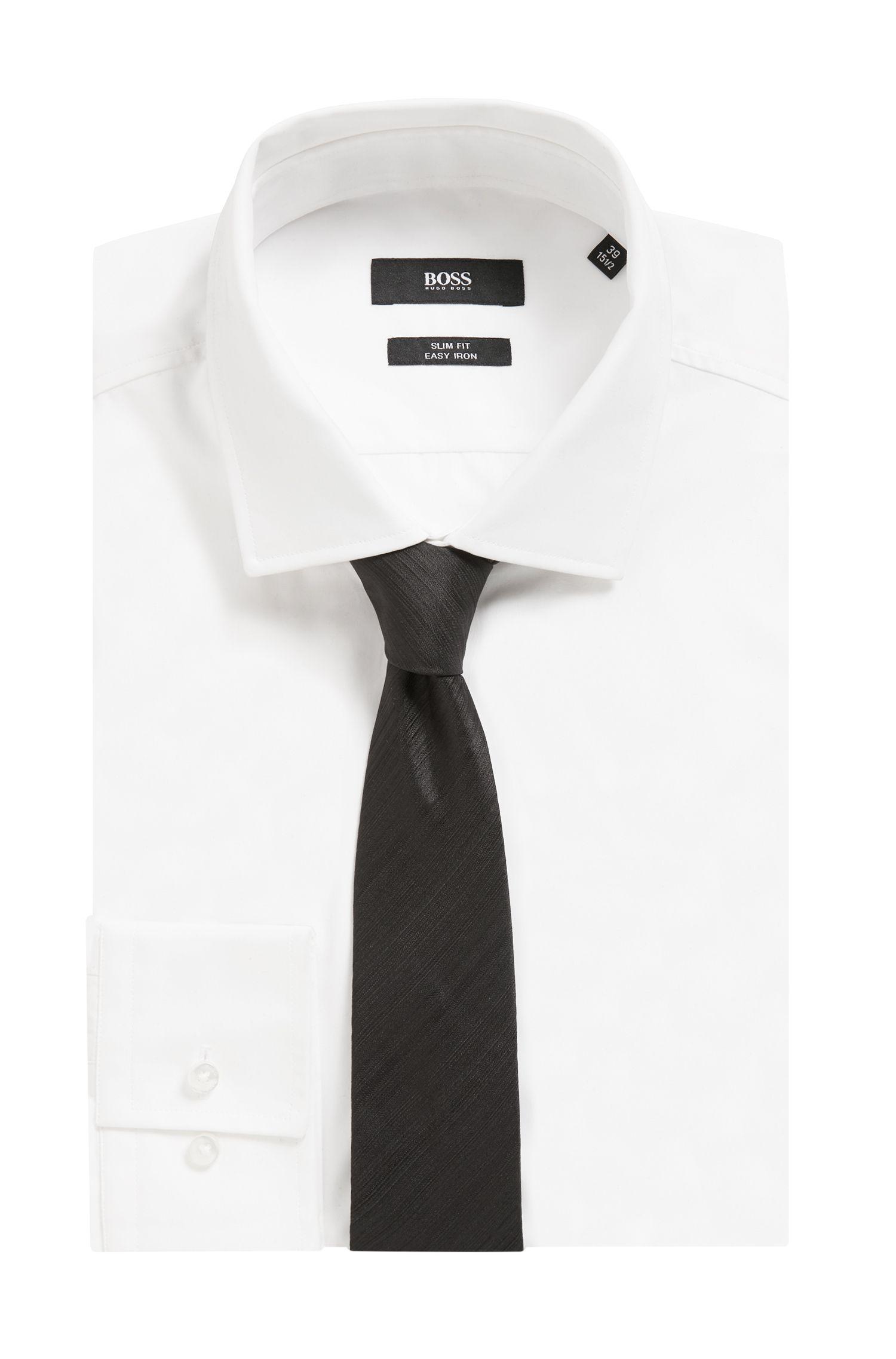 Handmade tie in textured silk jacquard, Black