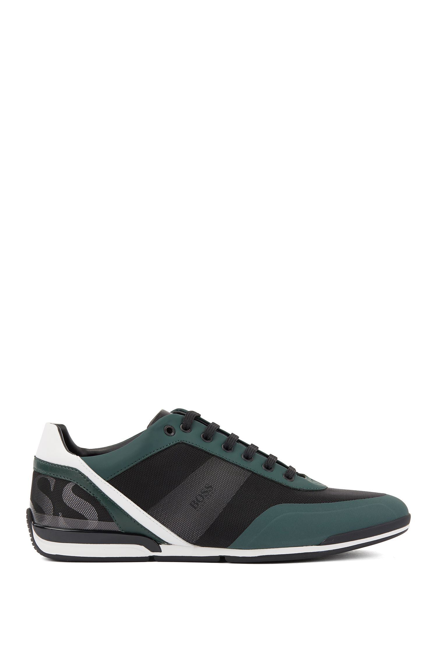 Low-top sneakers in printed technical fabric with mesh, Green