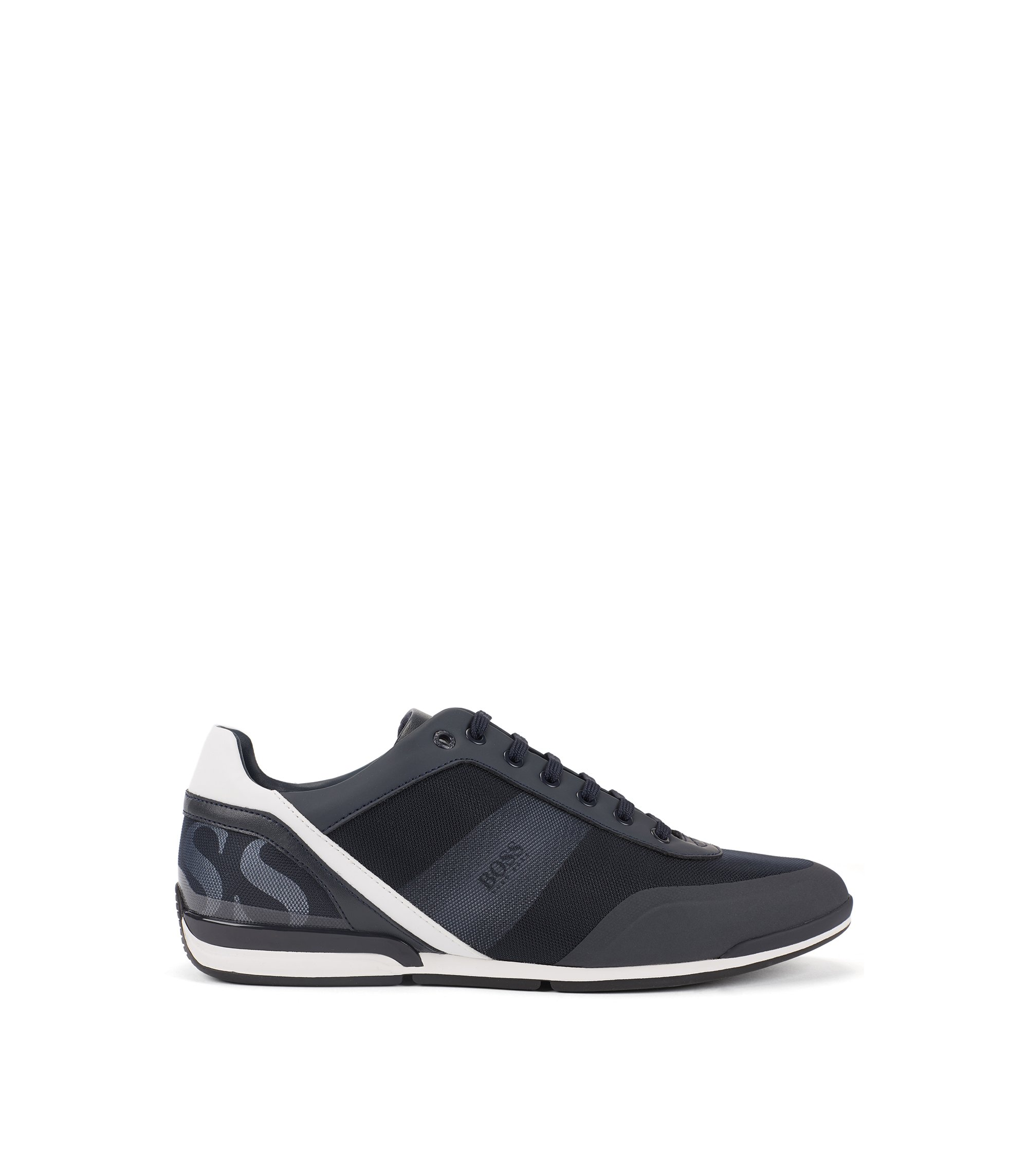 Low-top sneakers in printed technical fabric with mesh, Dark Blue