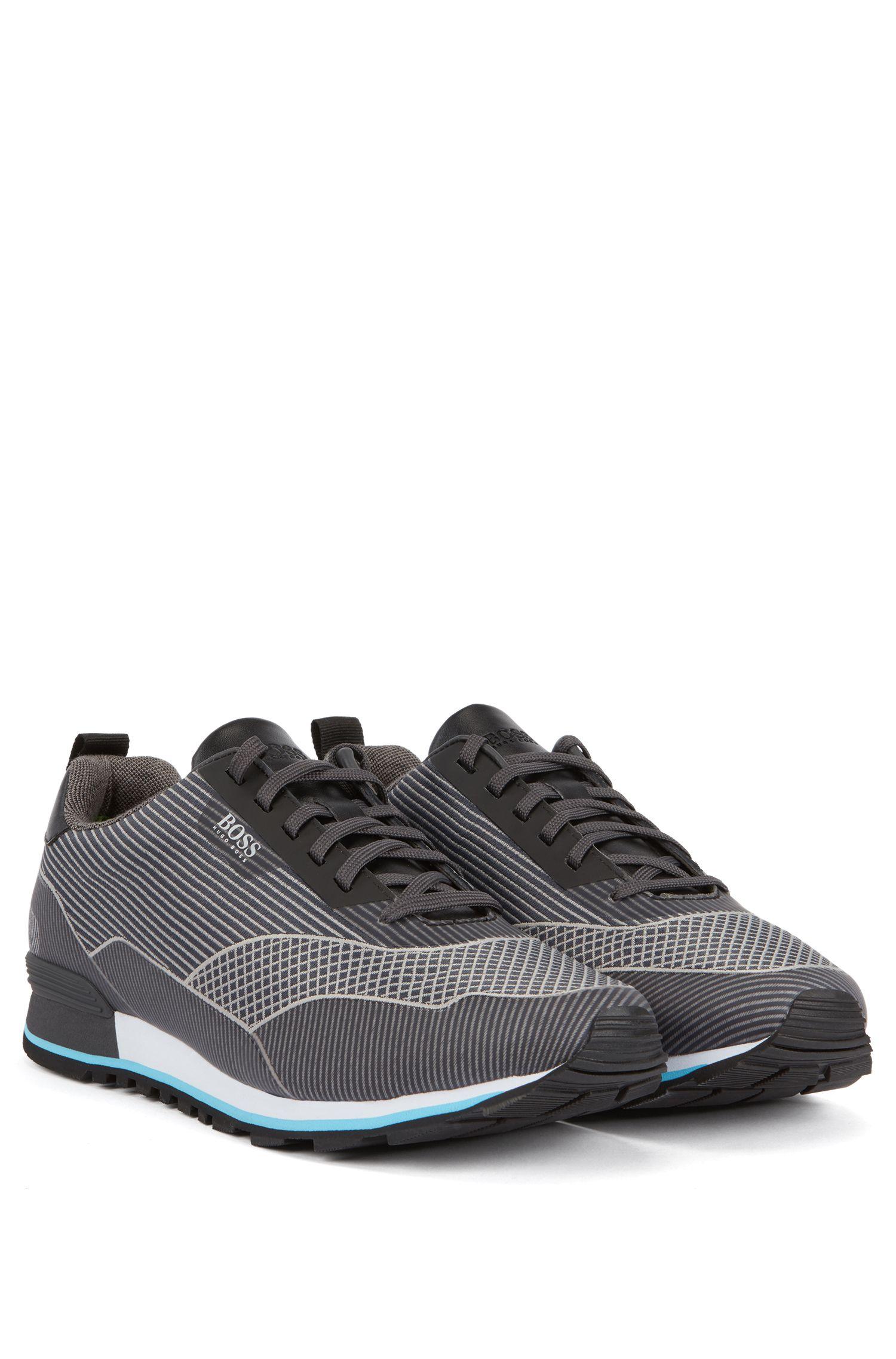 Running-inspired sneakers in jacquard nylon, Grey