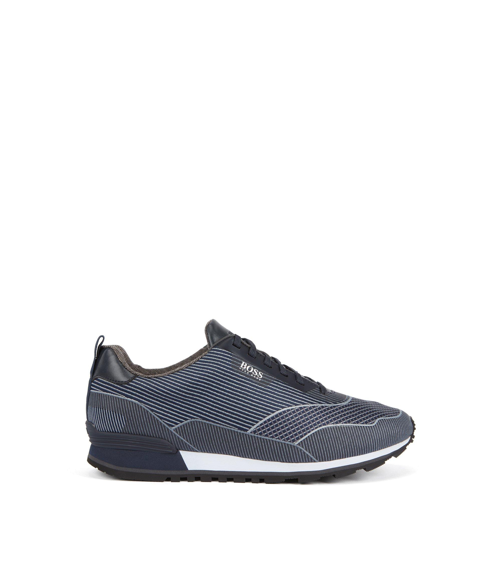 Running-inspired sneakers in jacquard nylon, Dark Blue