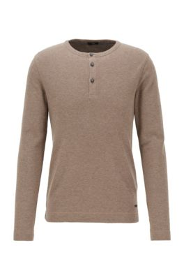 Slim-fit Henley T-shirt in heather waffle cotton, Dark Grey