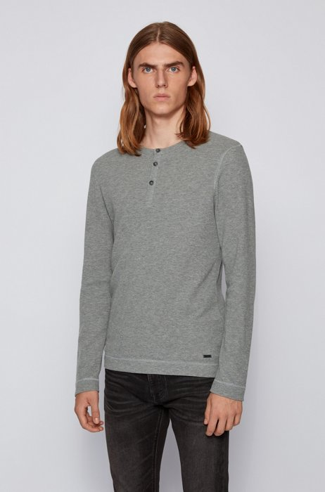 Slim-fit Henley T-shirt in heather waffle cotton, Light Grey