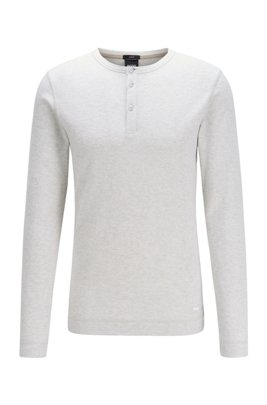 Slim-fit Henley T-shirt in heather waffle cotton, White