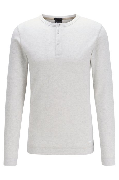 Slim-fit Henley T-shirt in heather waffle cotton, Natural