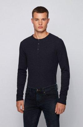 Slim-fit Henley T-shirt in heather waffle cotton, Dark Blue