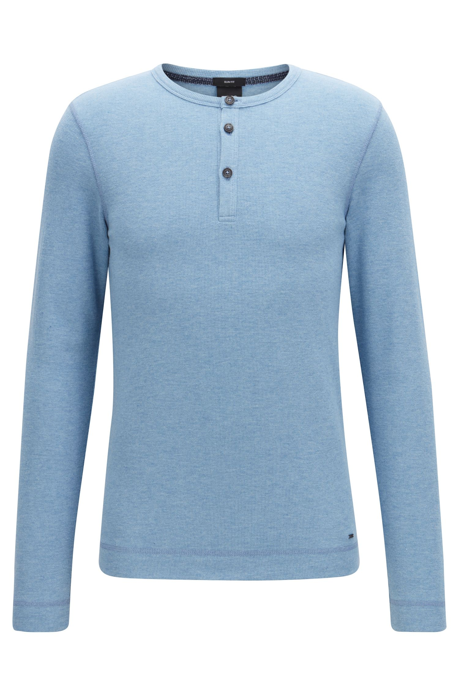 Slim-fit Henley T-shirt in heather waffle cotton, Light Blue