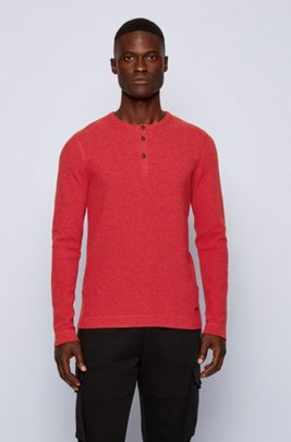 Slim-fit Henley T-shirt in heather waffle cotton, Pink