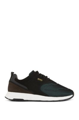 Running-inspired sneakers in nubuck leather and technical fabric, Dark Green
