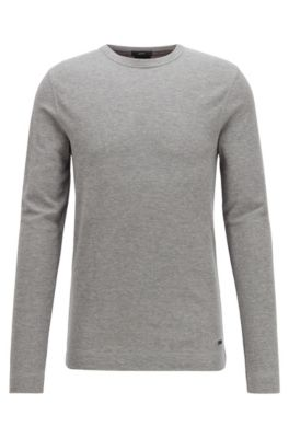 Slim-fit T-shirt with long sleeves in waffle cotton, Light Grey