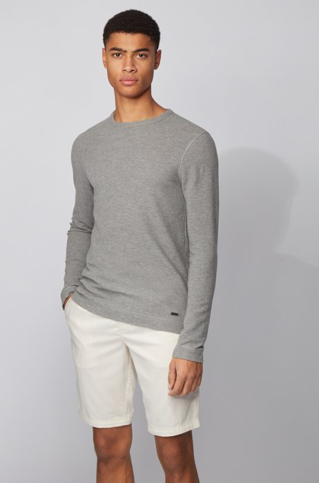 Slim-fit T-shirt with long sleeves in waffle cotton, Grey