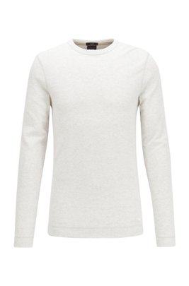 Slim-fit T-shirt with long sleeves in waffle cotton, White