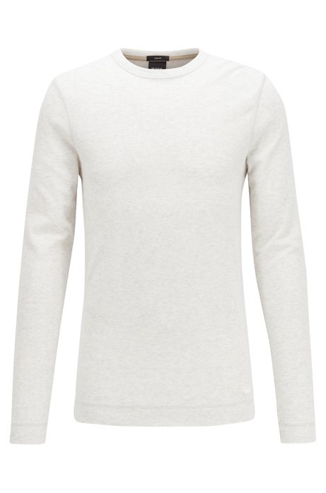 Slim-fit T-shirt with long sleeves in waffle cotton, Natural