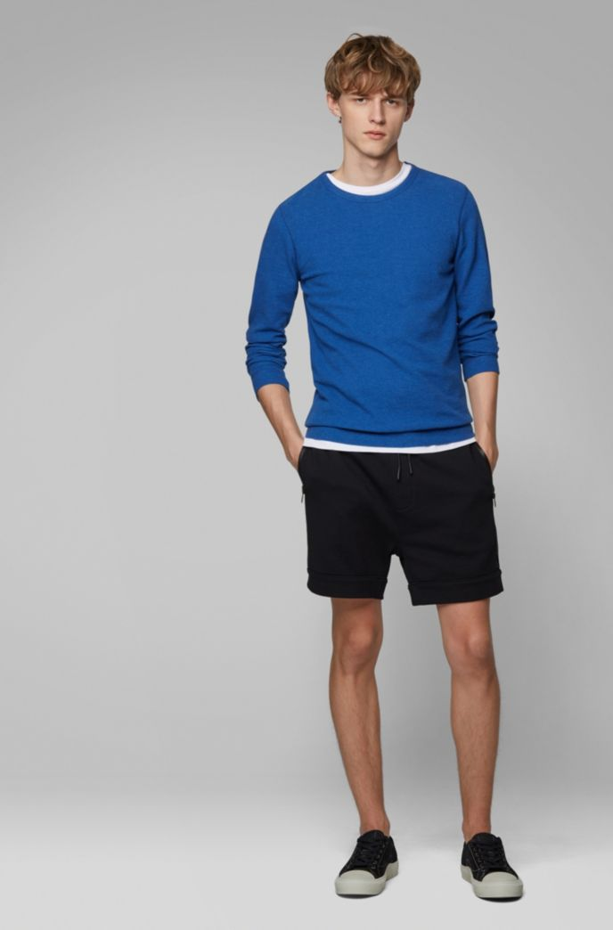 Slim-fit T-shirt with long sleeves in waffle cotton