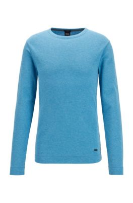 Slim-fit T-shirt with long sleeves in waffle cotton, Turquoise