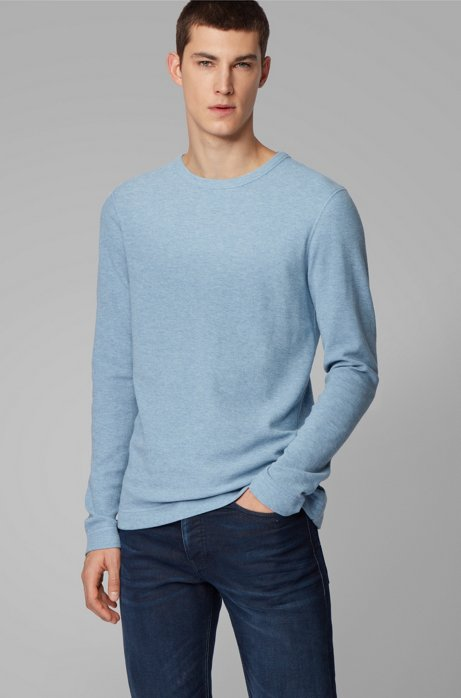 Slim-fit T-shirt with long sleeves in waffle cotton, Light Blue