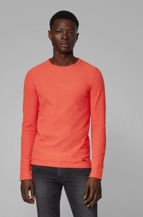 Slim-fit T-shirt with long sleeves in waffle cotton, Dark Orange