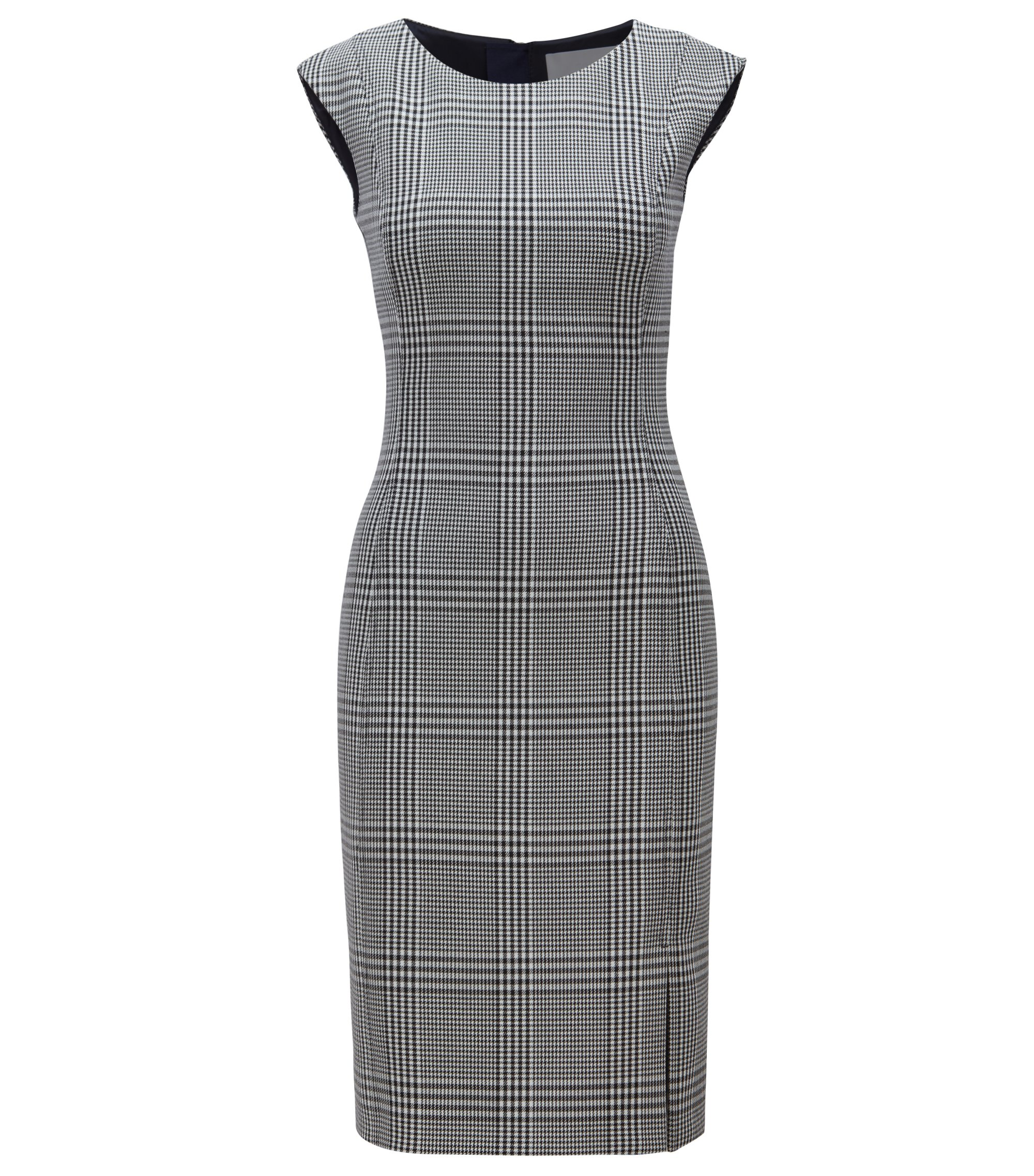 Slim-fit dress in stretch fabric with Glen check pattern, Patterned