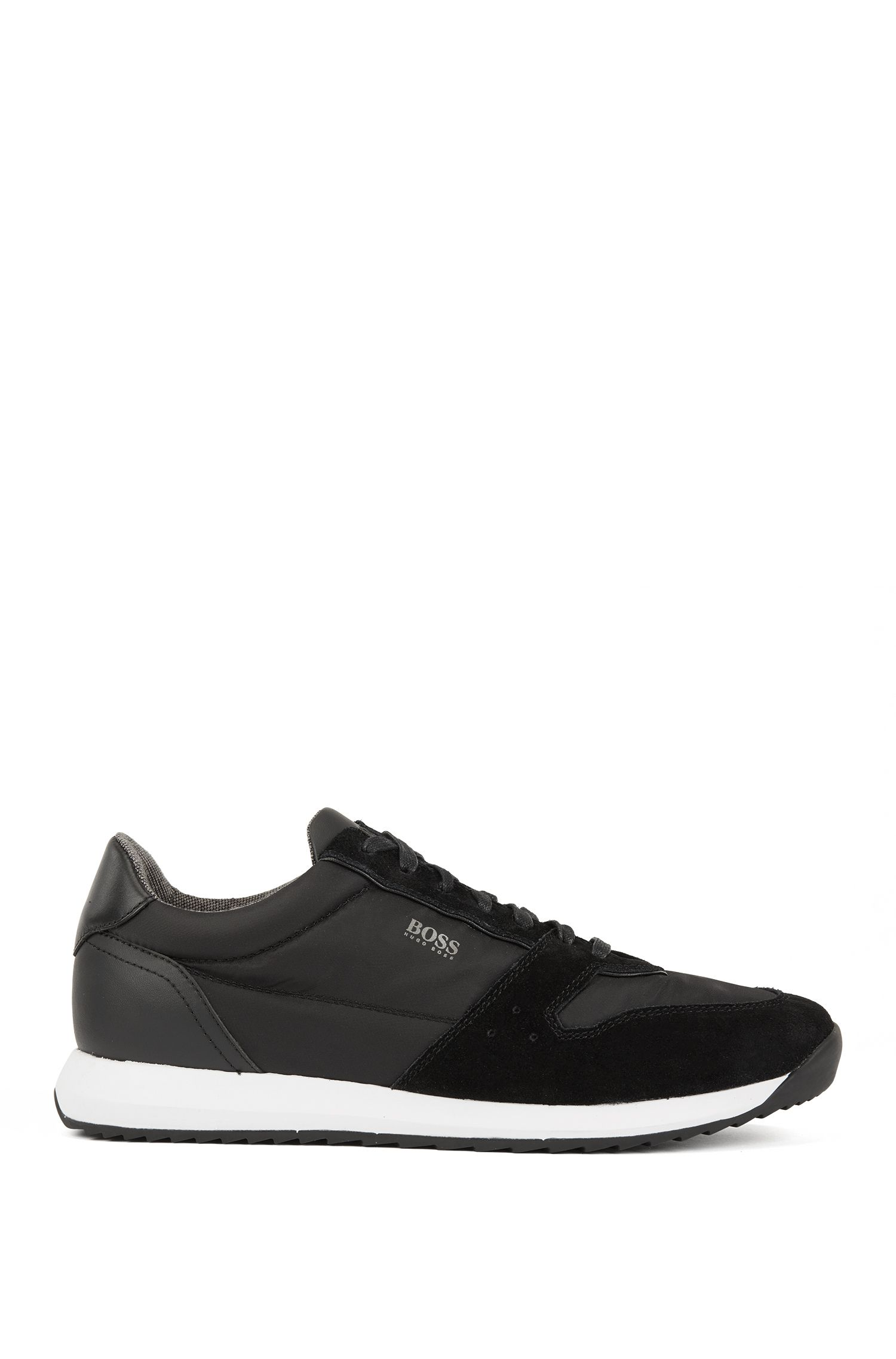 Running-inspired sneakers with technical bamboo-charcoal lining, Black