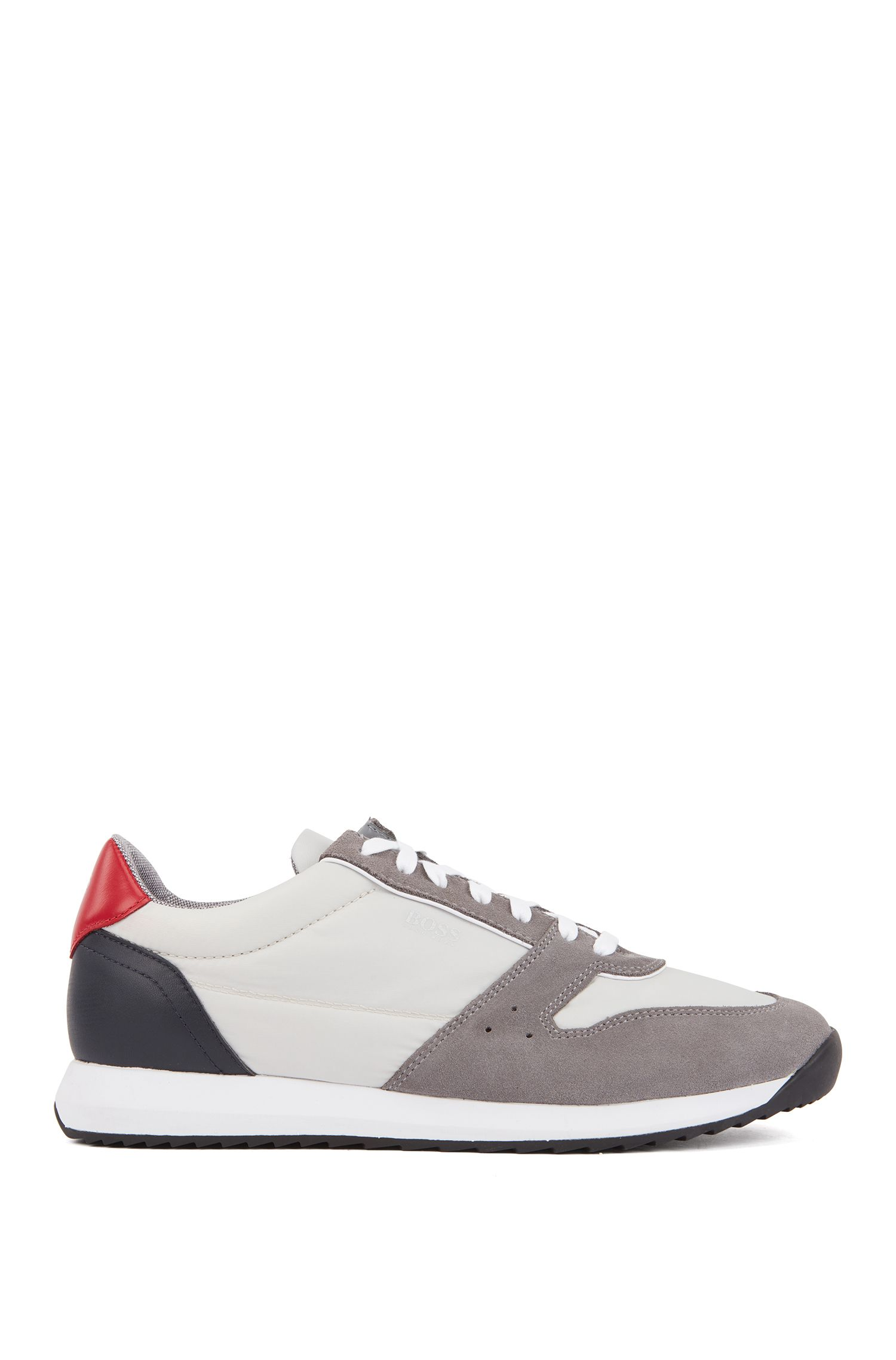 Running-inspired sneakers with technical bamboo-charcoal lining, Open Grey