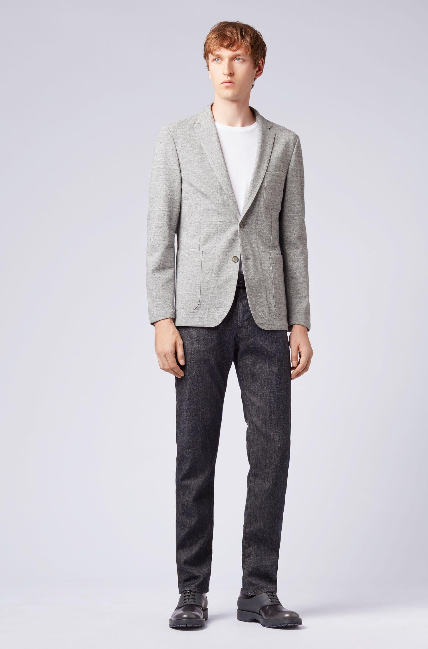 Mélange slim-fit jacket with zigzag stitching, Silver