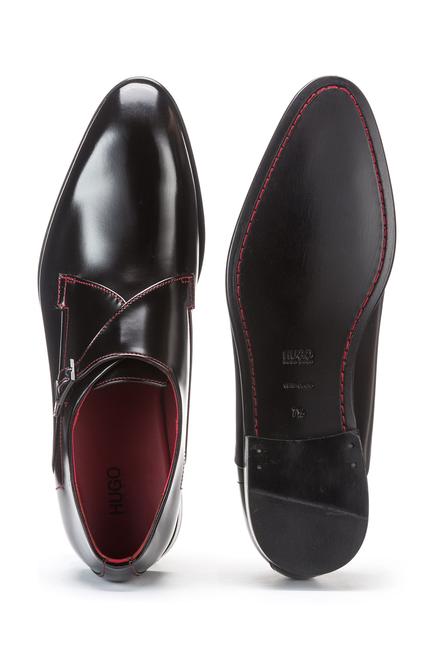 Single-monk shoes in brush-off leather with red stitching, Black