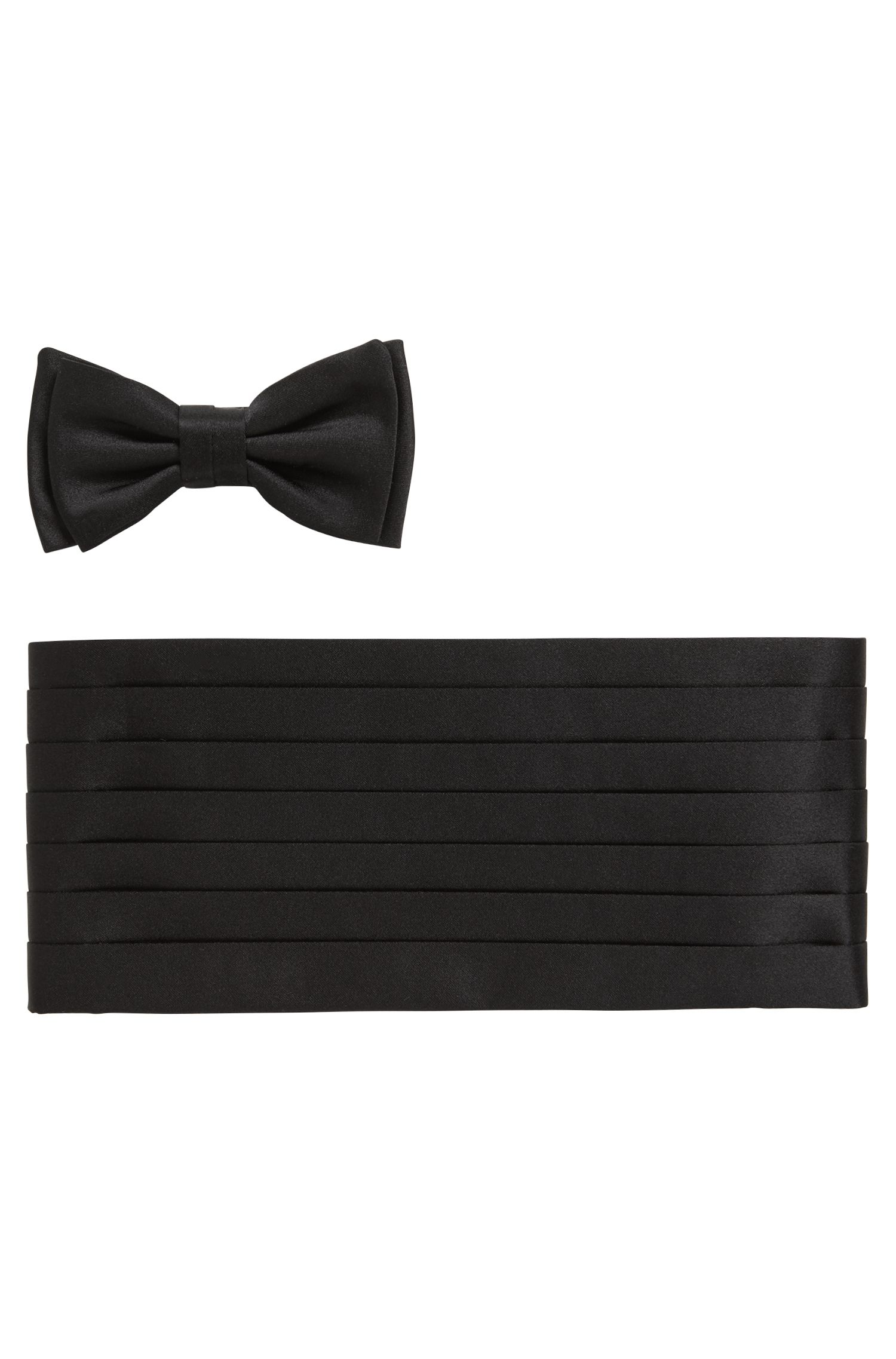Tailored Italian-made silk bow-tie and cummerbund set, Black