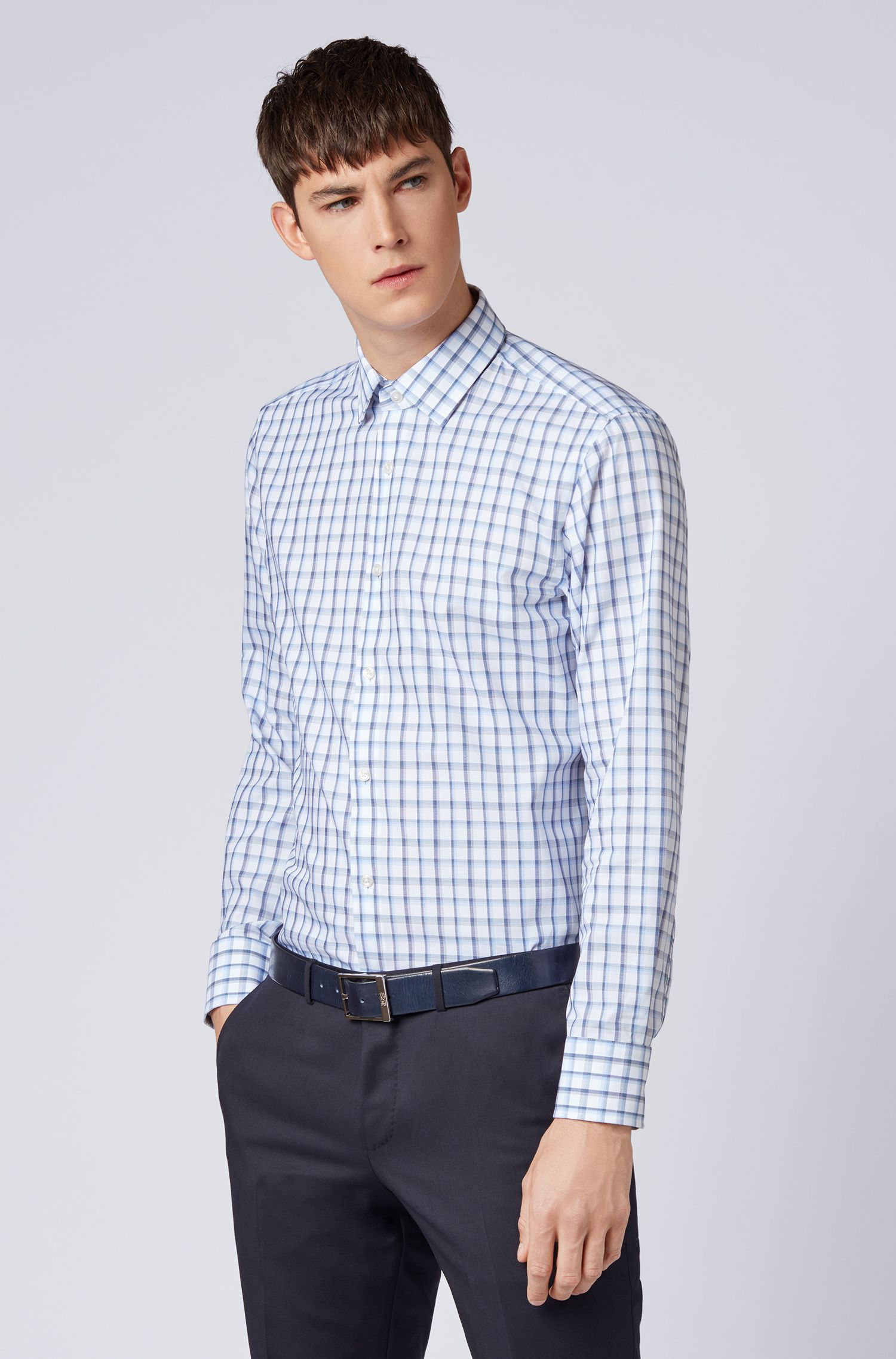 Slim-fit shirt in Oxford cotton with Vichy check, Blue