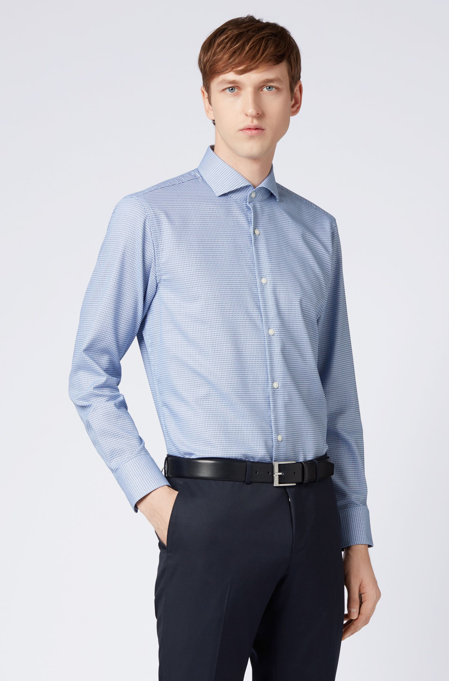 Sharp-fit shirt in dobby cotton with micro structure, Light Blue