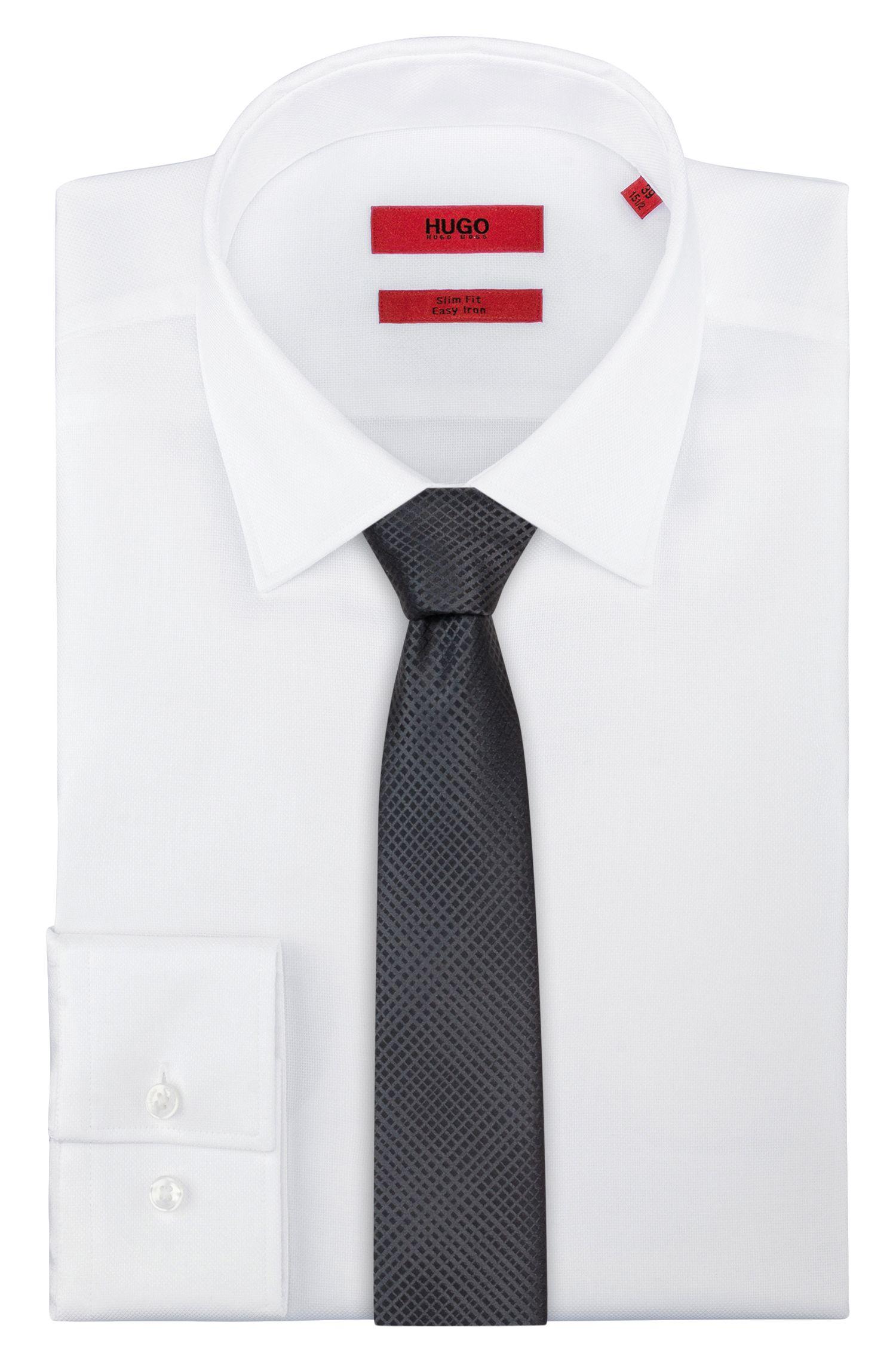 Checked tie in silk jacquard, Black