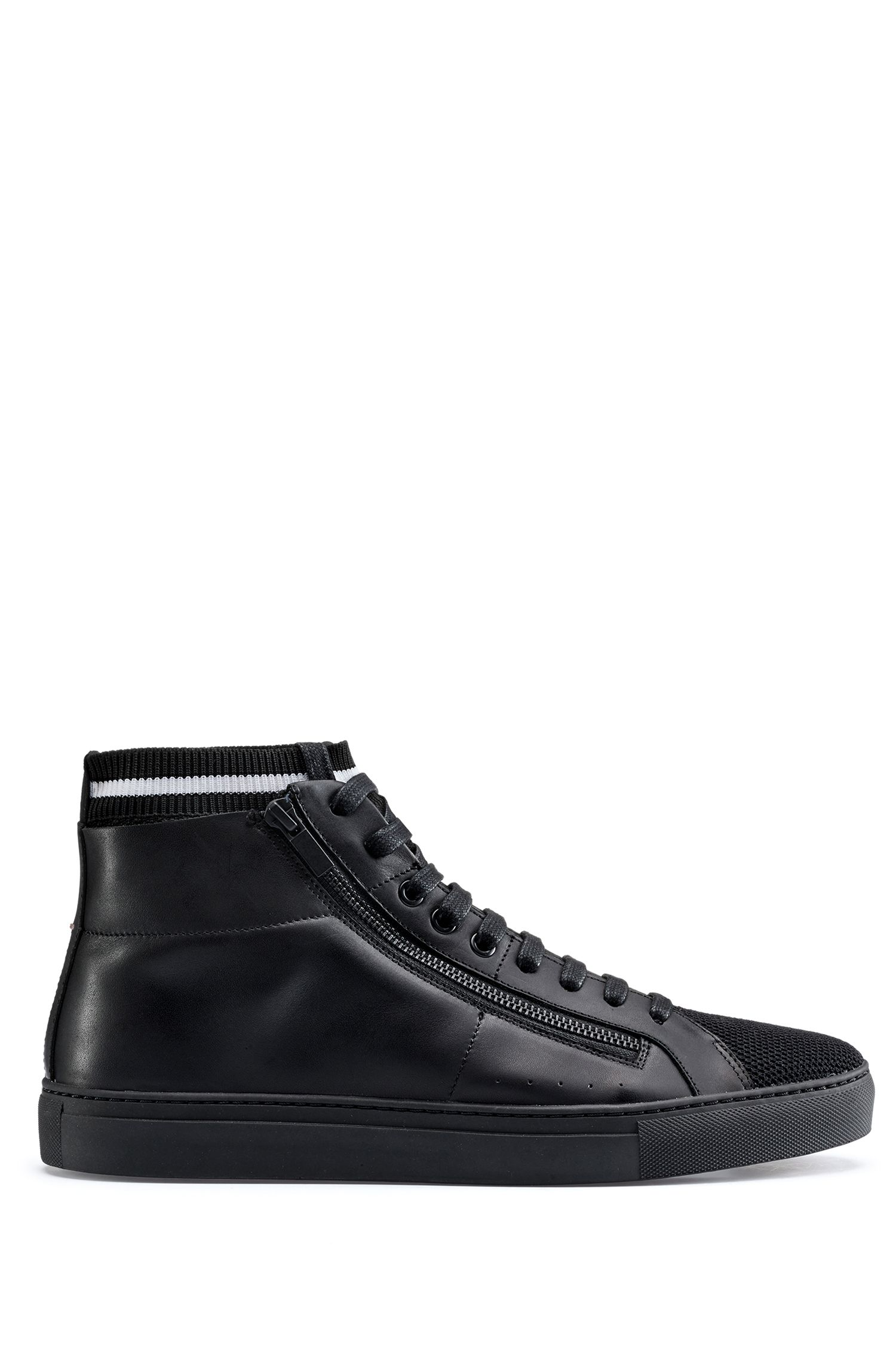 High-top sneakers in nappa leather with knitted sock, Black