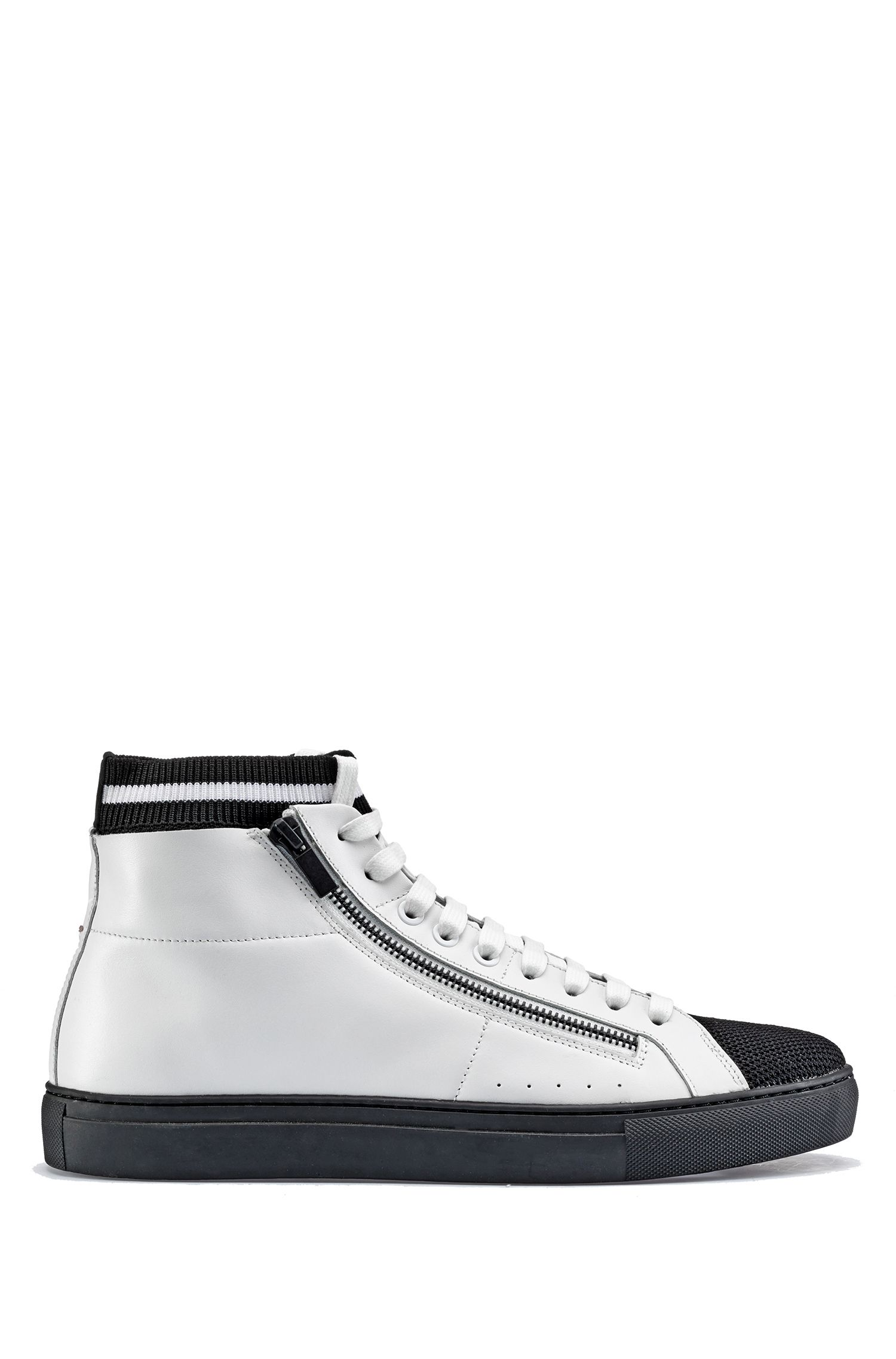 High-top sneakers in nappa leather with knitted sock, White