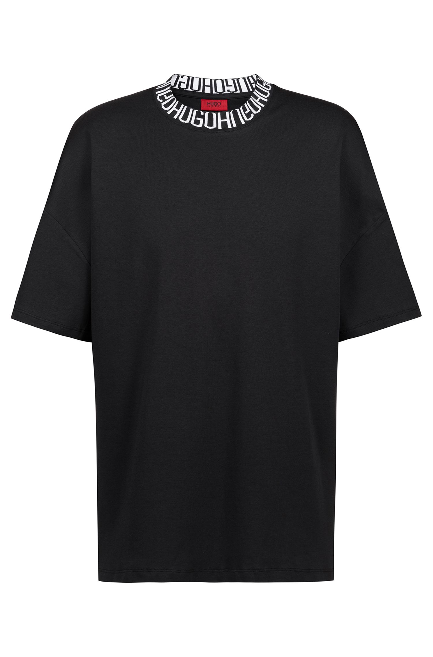 Oversized-fit T-shirt with reverse-logo neckline, Black