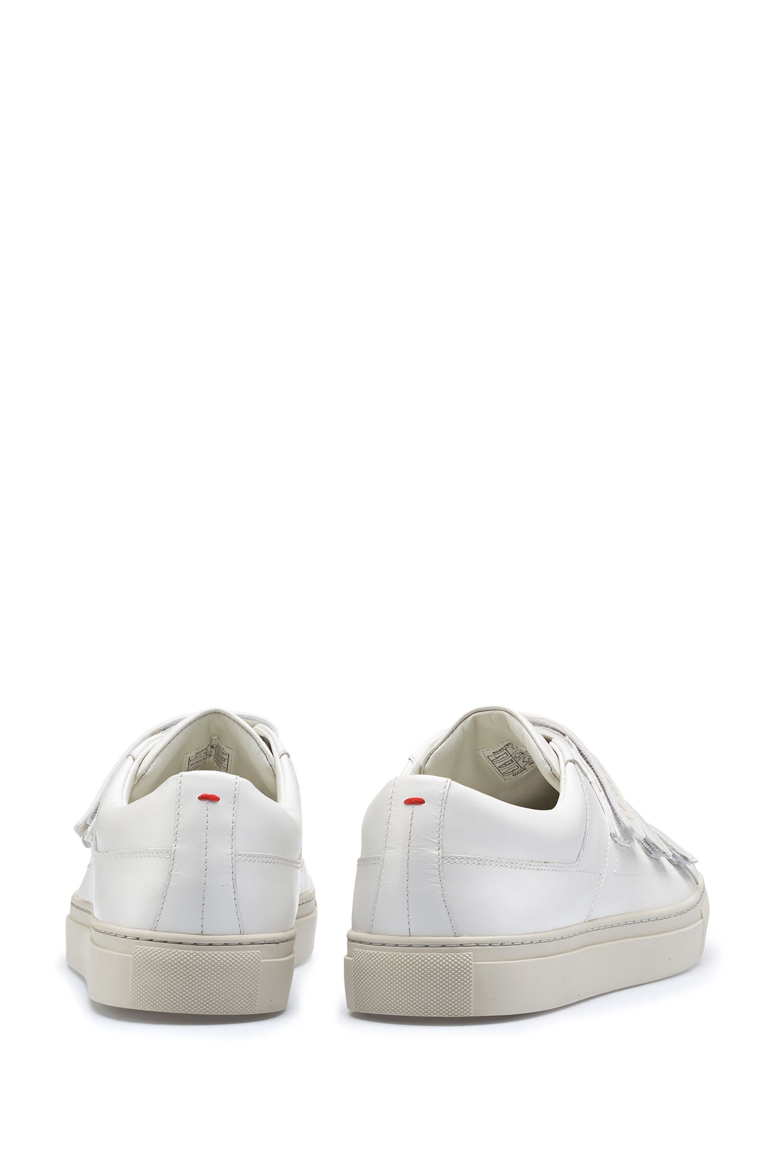 Leather touch-fastening sneakers with branded strap, White