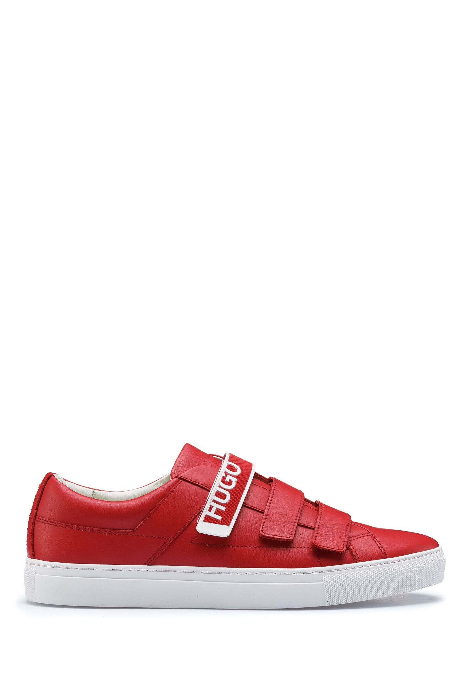 Leather touch-fastening sneakers with branded strap, Dark Red