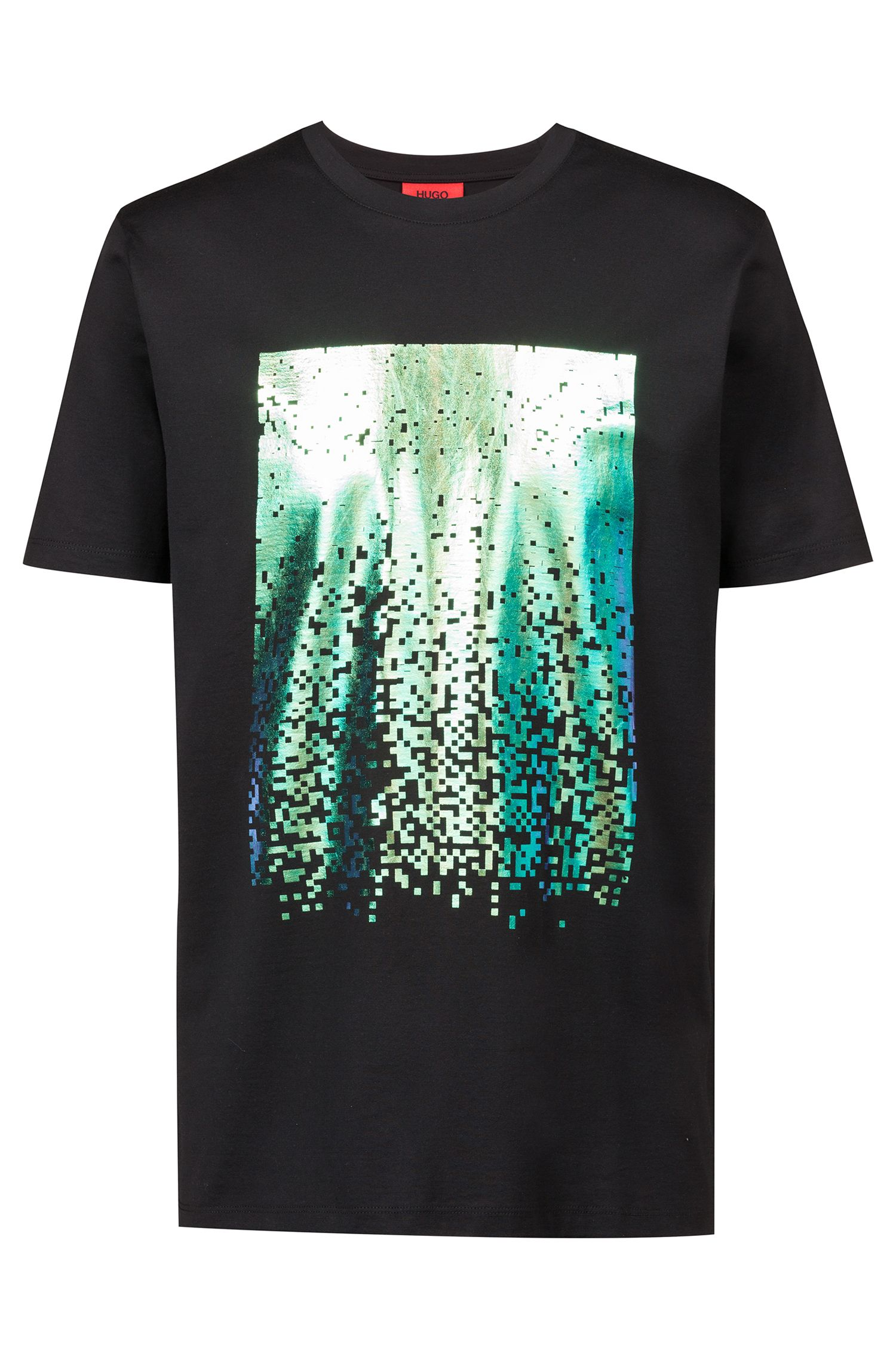 Crew-neck T-shirt in cotton with abstract print, Black