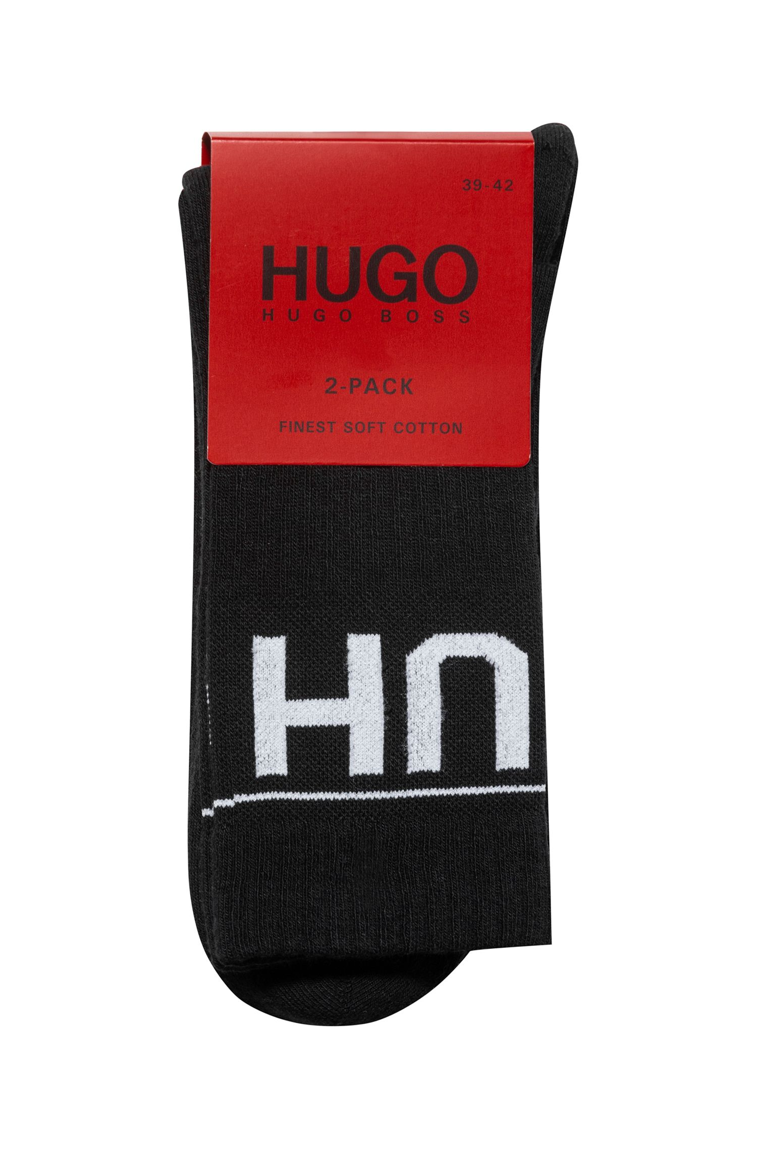 Two-pack of knitted ankle socks with reverse logo, Black
