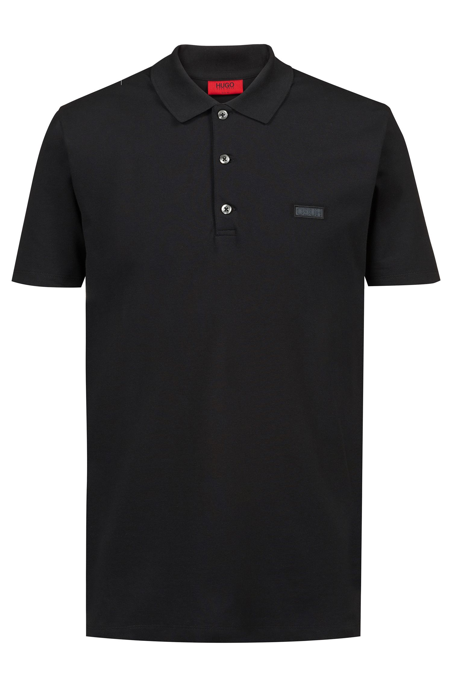 Slim-fit polo shirt with reverse-logo badge, Black